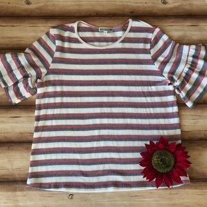 Pleione red, white and blue striped top. NWOT